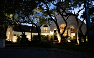 Outdoor architectural and tree lighting in San Antonio